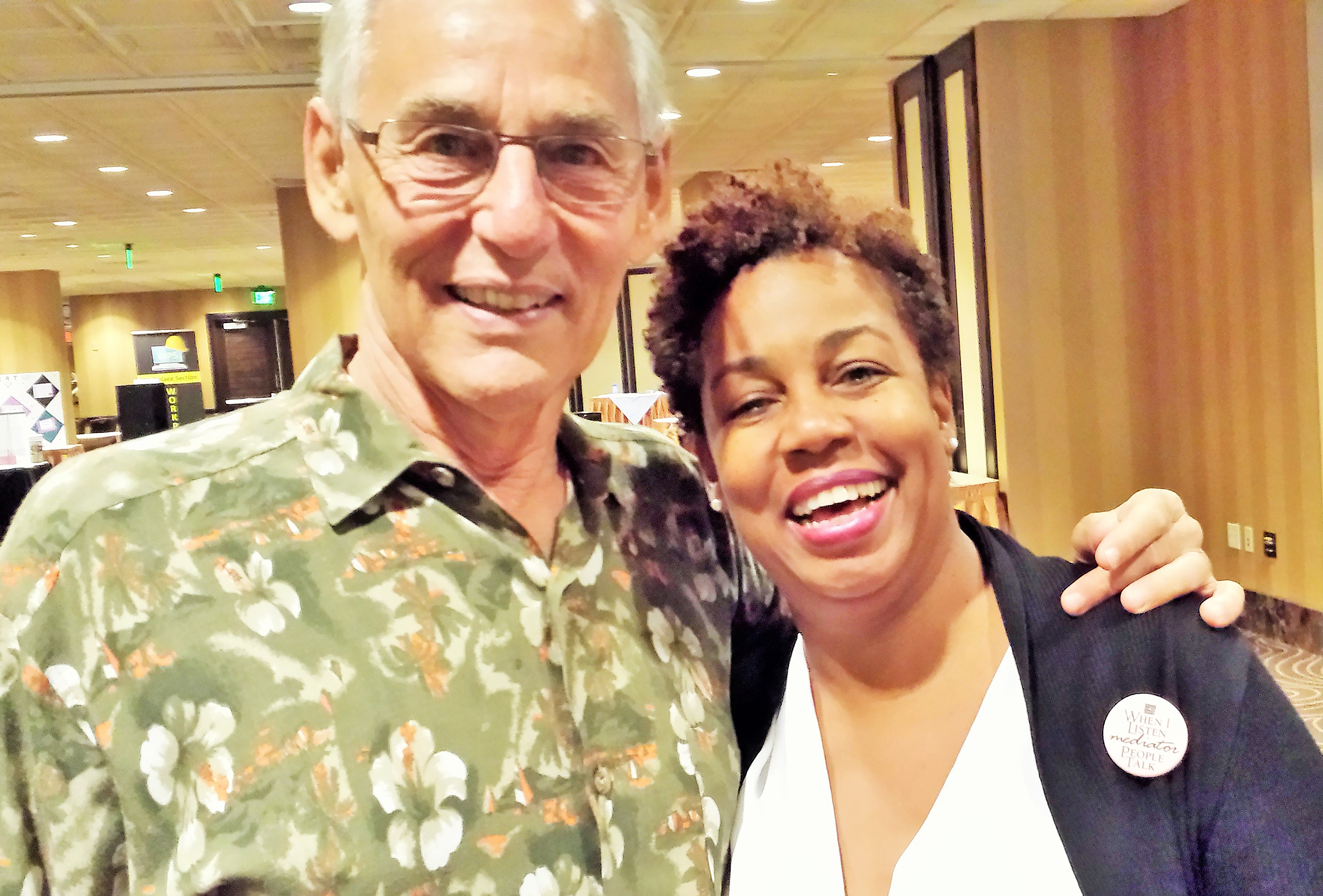 Here she is with Dr. Ken Cloke, author of a number of books on mediation and the professor who really made her recognize the healing power of mediation.